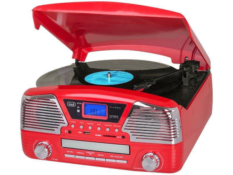 SISTEMA STEREO GIRADISCHI CON ENCODING RADIO CD MP3 USB SD BLUETOOTH TREVI TT 1068 E ROSSO